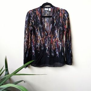 Chico's Feather Print Long Sleeve Sheer Blouse